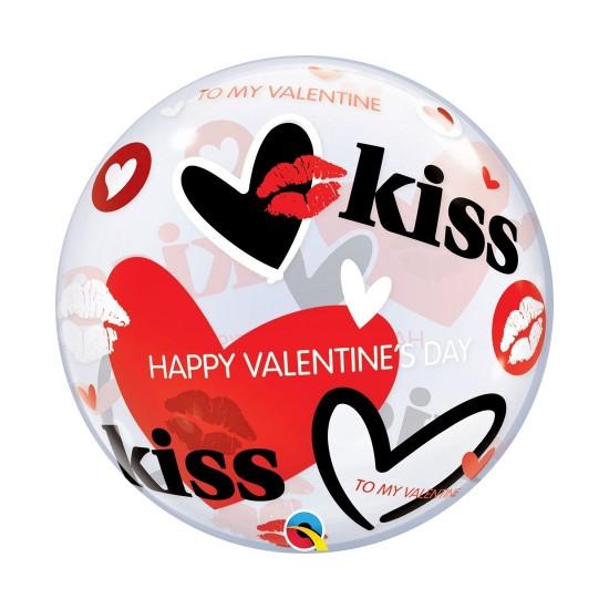 "Bubble Μονό 22"" Happy Valentine Kiss 56 εκ"