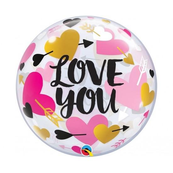"Bubble Μονό 22"" Love You Hearts & Arrows / 56 εκ"