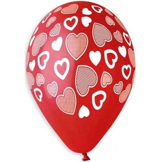 13″ Μπαλόνι τυπωμένο Καρδιές παντού