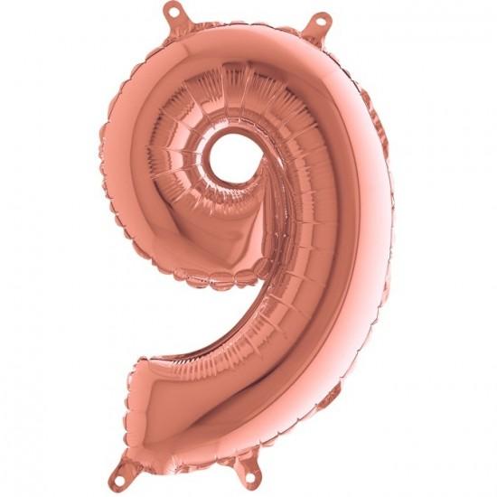 Μπαλόνι 40 εκ rose gold Αριθμός 9