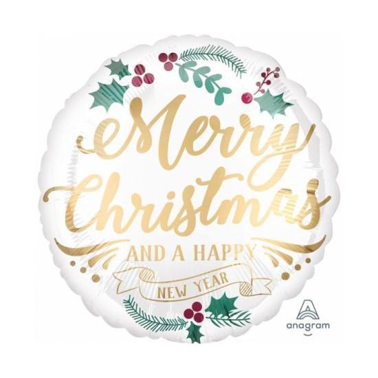 """Μπαλόνι φοιλ 18"""" Satin Infused Christmas /46 εκ - Happy New Year"""