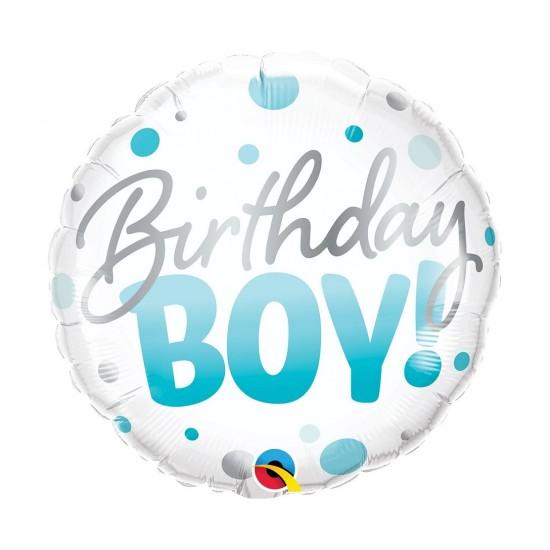 """Μπαλόνι Φοιλ 18"""" Birthday Boy Blue Dots / 46 εκ"""