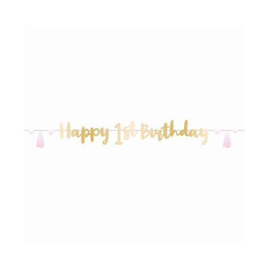 Γιρλάντα Γράμματα Πρώτα Γενέθλια Pink Ombre / 180 εκ