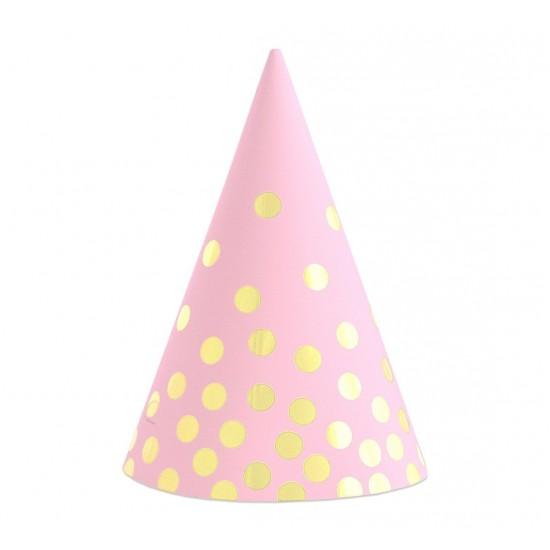 Καπελάκι πάρτυ Ροζ με Χρυσό Πουά (6 τεμ)