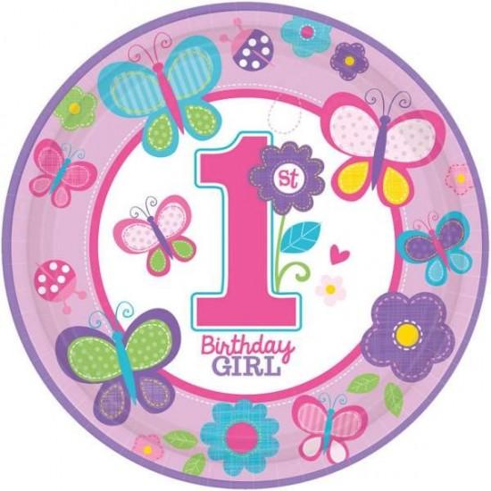 Πιάτα πάρτυ μεγάλα 1st birthday girl (8 τεμ.)