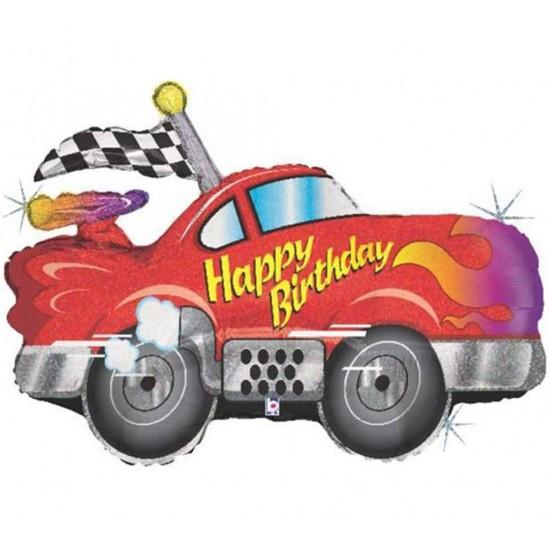 Μπαλόνι για γενέθλια αμάξι 'Happy Birthday'που ιριδίζει