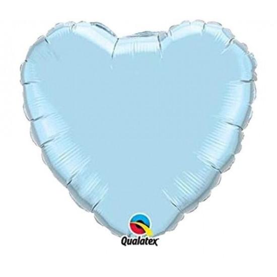 Μπαλόνι γαλάζια περλέ καρδιά 18''