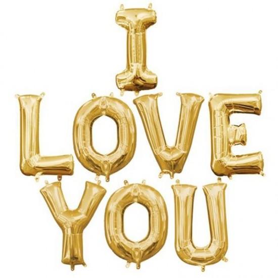 Μπαλόνι αγάπης I Love You Χρυσό (8 τεμ.)
