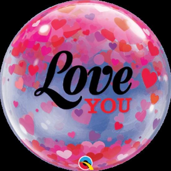 Μπαλόνι αγάπης Love You με κομφετί bubble 56εκ.