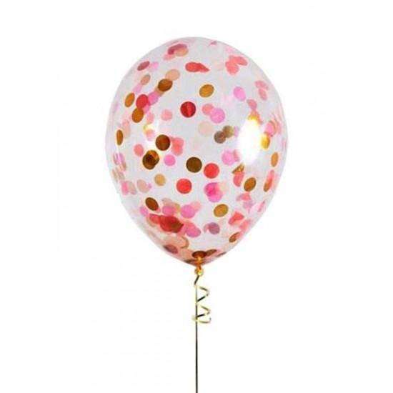 Διάφανο μπαλόνι γεμισμένο με Ροζ & Χρυσό κονφετί