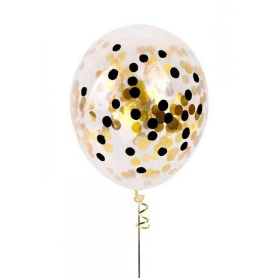 Διάφανο μπαλόνι γεμισμένο με Χρυσό & Μαύρο κονφετί