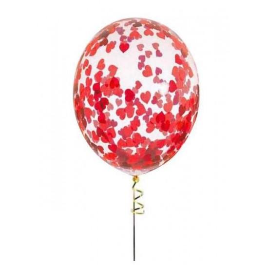 Διάφανο μπαλόνι γεμισμένο με Κόκκινες Καρδιές κονφετί