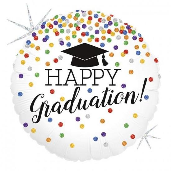 Μπαλόνι για αποφοίτηση Happy Graduation γκλίτερ
