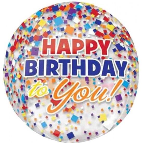 Μπαλόνι γενεθλίων Happy Birthday to you κομφετί ORBZ