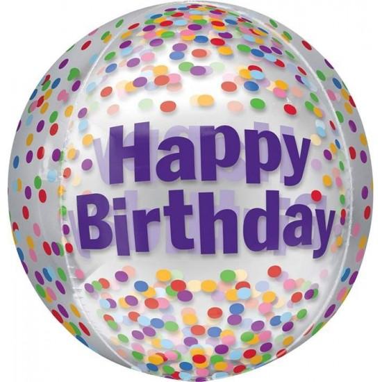 Μπαλόνι γενεθλίων Διάφανο Happy Birthday κομφετί ORBZ