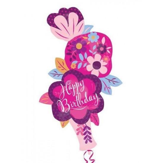 Μπαλόνι για γενέθλια βάζο με Λουλούδια 'Happy Birthday'