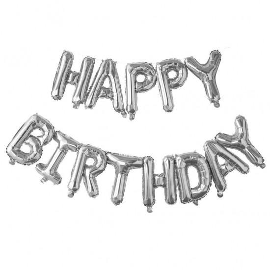 Μπαλόνι γενεθλίων ''Happy Birthday'' Ασημί (13 τεμ.)