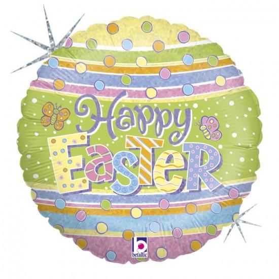 """Μπαλόνι """"Happy Easter"""" πουά 46 εκ"""