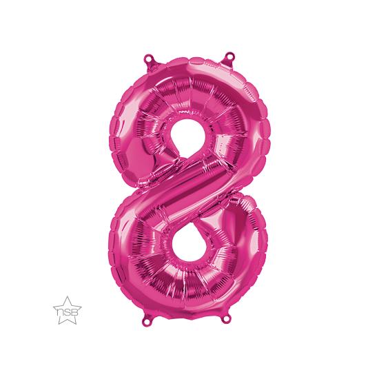"""Μπαλόνι Νούμερο """"8"""" Magenta 16""""/ 41εκ."""