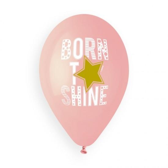 13″ Μπαλόνια τυπωμένα Βorn to Shine ροζ