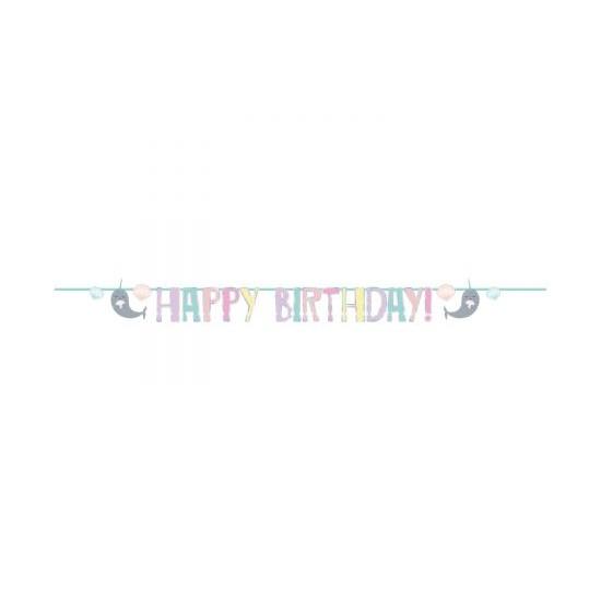 Γιρλάντα Γράμματα Happy Birthday Iridescent Narwhal / 240 x 14 εκ