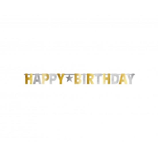Γιρλάντα Γράμματα Happy Birthday Χρυσό και Ασημί / 320 εκ