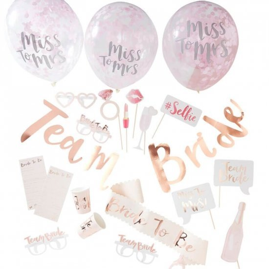 Team Bride Party In A Box Rose Gold Hen Party Ginger Ray TB-641