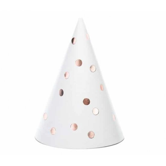 Καπέλα πάρτυ Άσπρα με Rosegold Πουά (6 τεμ)