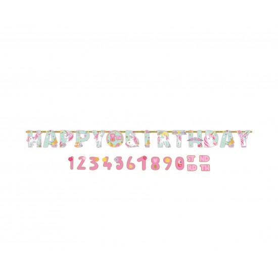 Γιρλάντα γράμματα Happy Birthday Magical Unicorn
