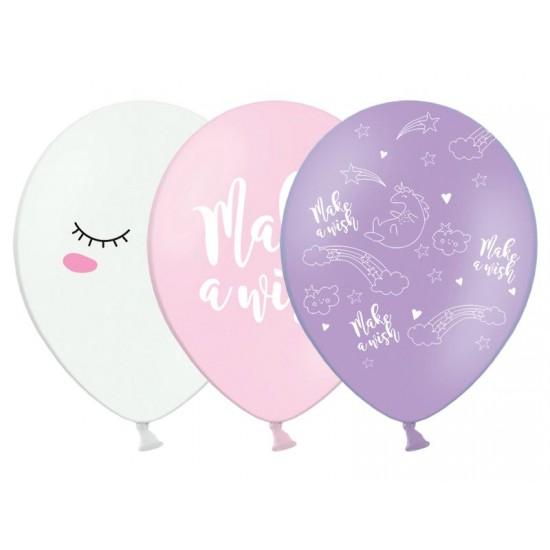 """12"""" Μπαλόνι σετ 3τεμ  τυπωμένο Μονόκερος Make a Wish (3 σχέδια)"""