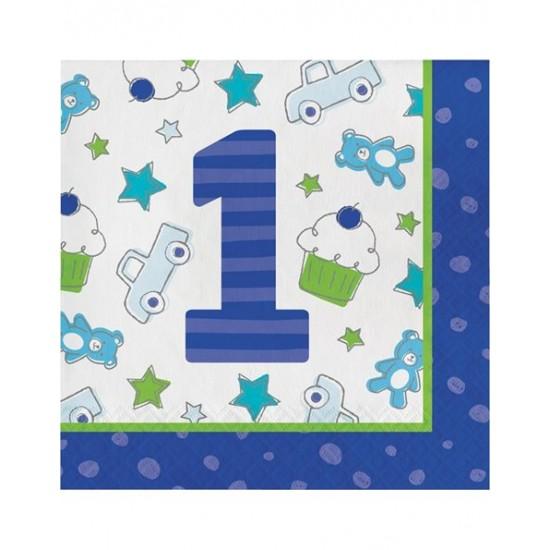 "Xαρτοπετσέτες Μεγάλες ""1st Birthday Boy""  (16 τεμάχια)"